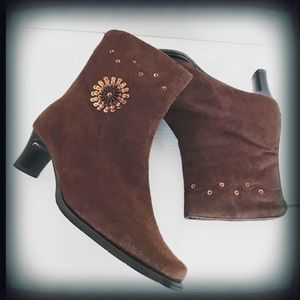 Top Moda Faux Suede Brown Sequin Ankle Boot